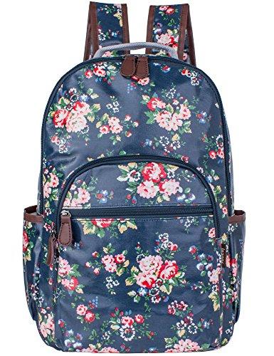 Leaper wasserdichte Leinwand + PVC Schicht Schule Rucksack hübsch floral Laptop Tasche lässig Daypack (Blau) Floral Becher