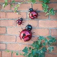 3 Metal Ladybird Wallart Art Garden Ornaments by 247 imports