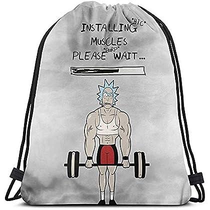 BLANKNTC Rick y Morty. Instalación Músculos Bolso con cordón Deporte Gimnasio Saco Compras Viaje Mochila de Hombro Plegable Patrón Hombres y Mujeres
