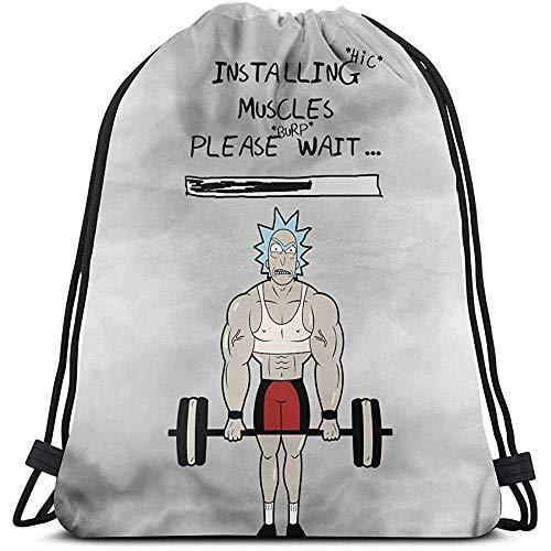 Armothy-Morty y su Brazo Fuerte y musculoso de Rick-Morty Bolso con cordón Deportivo Gimnasio Deportivo Saco Compras Viaje Mochila de Hombro Plegable Patrón Hombres y Mujeres