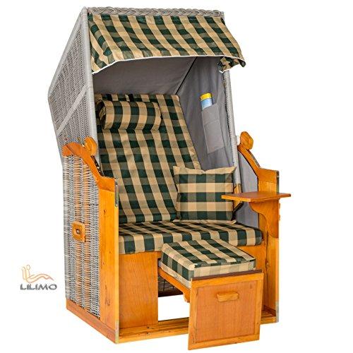Single Strandkorb Bansin ROYAL NGN silber, grün-natur kariert, mit Abdeckhaube, fertig montiert, LILIMO ®