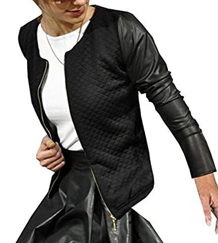 Stylisch Lederjacke Langarmshirts Reißverschluss Jacket, schwarz, M