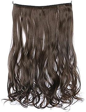 Hrph 45cm Clip sintético en piezas de cabello resistente al calor Hairpiece natural rizado ondulado extensiones...