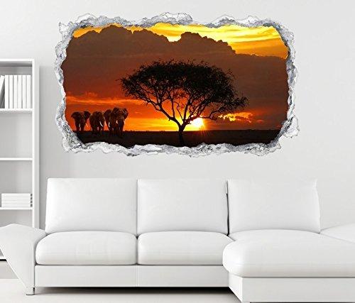 3d Pegatina pared África Sabana Elefantes Safari árbol pared adhesivo Avance Piedra...