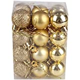 Gold : Christmas Bauble Ball Ornaments , Mumustar Shatterproof Xmas Trees Hanging Decorative Balls Set Embossed Finished String Tied Pendants Home Party Decorations 3cm 24Pcs/Box (Gold)