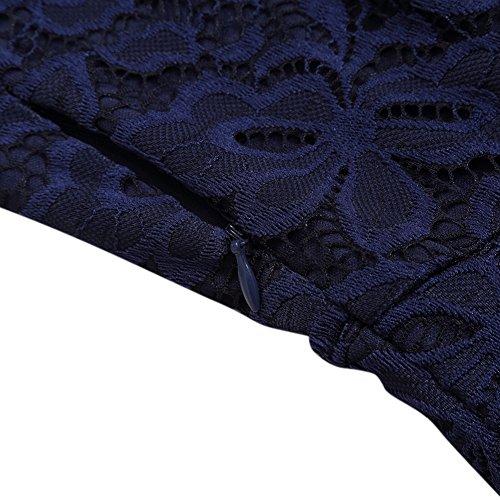 YesFashion Damen Kleid Spitzenkleid Abendkleid Partykleid Knielang A-Linie Kurzarm-Blau