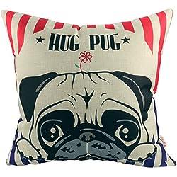 """MARWAR Lovely Hug diseño de CARLINO cojín de lino y algodón manta funda de almohada de cachorro de animales decoración para el hogar Navidad regalo 18""""x18"""" (45x 45cm"""