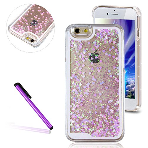 Glitzer Hülle für iPhone 6S Plus,Transparent Hülle für iPhone 6S Plus,iPhone 6 6S Plus TPU Case Schutzhülle Silikon Clear Case Etui,EMAXELERS iPhone 6S Plus Hülle Silicone,Niedliche Pulm Blumen Flower Fluorescent Heart 2