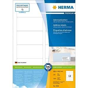 Herma 4666 Adressetiketten (Premium Papier matt, 88,9 x 46,6 mm) 1200 Stück weiß
