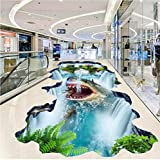 Mddjj Pvc Selbstklebende Wasserdichte Tapete Aufkleber Shark Falls Suspension Hill 3D Stereo Badezimmer Außenboden Fliesen Wandmalerei Kunst Familie Kinderzimmer-300cmx210cm