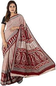 Tribes India Women's Maheshwari Cotton Saree (1STXSARMP00070_0_Maroon & Lig
