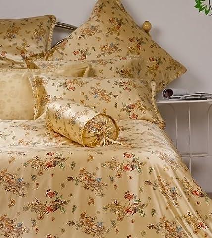 Orifashion Luxe 100% soie Charmeuse de lit, 1drap-housse, 1drap et 2couvertures d'oreiller, imprimé Dragon et Phoenix Patterns, Soie, King