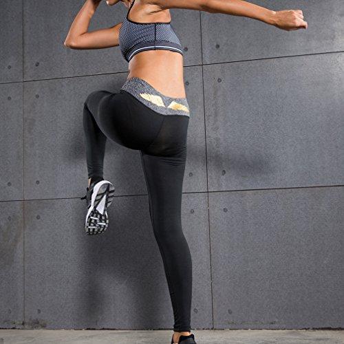 Damen-Kompressions-Leggings Base Layer Strumpfhosen Schwarz Grau Gold