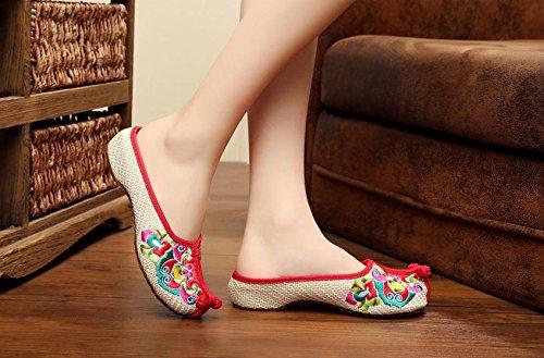 Weiblicher Peking Ethnischer Gestickte amp;hua Opera Mode Sandalen Chinesische Beige Stil Sehnensohle Schuhe Bequem Flip Flop 1xwYFqw