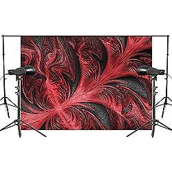 DLQX Feuilles Rouges Forme Fond Abstrait Toiles De Fond Noir Art Photo Studio Toile De Fond 150X210Cm Photographie Fond Mur