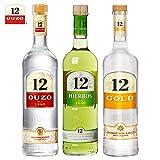 Set 3 Flaschen Ouzo 12,Hierbos und Gold