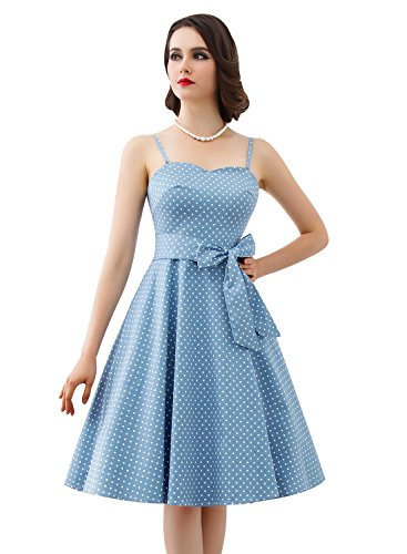 Bbonlinedress Vestidos Retro Vintage Rockabilly 1950 Tirantes Finos Blue white Dot 2XL