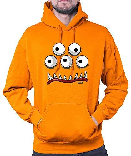 HARIZ Herren Hoodie Monster Gesicht Karneval Kostüm Inkl. Geschenk Karte Orange S