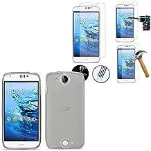 Acer Liquid Jade Z silicona Gel Case Color: 2x Transparente Protector de pantalla Vidrio Templado