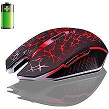 Malloom 2.4GHz inalámbrico 7 recargable 2400DPI 6 botones Optical Usb Gaming ratón (rojo)