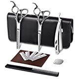 E-More Hair-cutting Scissors, Hair Thinning Scissors Set, 4 Pieces Barber Professional Hair Cutting