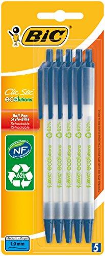 Bic -Juego de bolígrafos (5 unidades, punta redonda), color azul