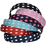 Bzybel Wome Polka Dots Headbands Plastic Hair Bands Hair Comb Ribbon Covered For Little Girls
