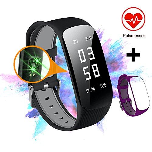 Slim Touch Wasserdicht Fitness Armbänder mit Pulsmesser, Armband Fitness Tracker mit Herzfrequenzmesser, Schrittzähler, Schlaf-Monitor, Aktivitätstracker,Anrufen / SMS, für iOS und Android (1.Schwarz+Violett)