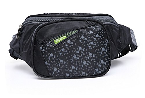 orrinsports 3 tasche cerniere in nylon resistente all' acqua Outdoor Marsupio con Cintura Regolabile, Black