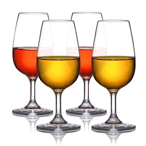 Michley bicchieri di vino rosso 225 ml, set da 4, bicchieri panciuti, piccoli bicchieri di plastica, lavabile in lavastoviglie