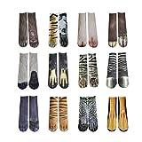 Biback 3D Socken, 1 Paar Erwachsene Männer & Frauen Tier Paw Socken, Elastisch Atmungsaktiv 3D Gedruckt Langen Fuß Huf Medium Rohr Socke Animal Foot Sock 3D Print Animal Foot Hoof Medium Sock