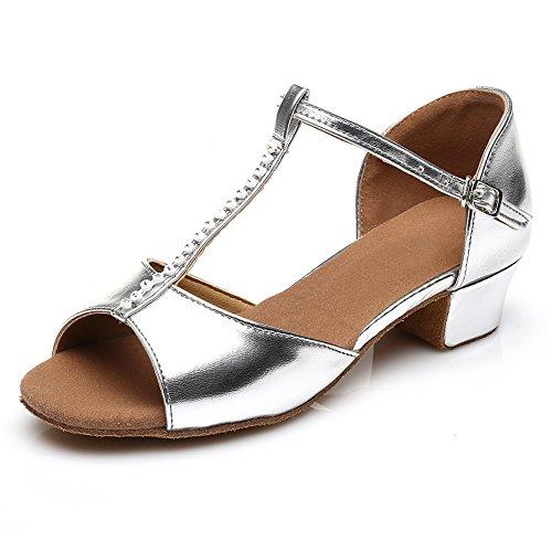 HROYL Mädchen Tanzschuhe/Latin Dance Schuhe Satin Ballsaal Modell-DS-201 Silber