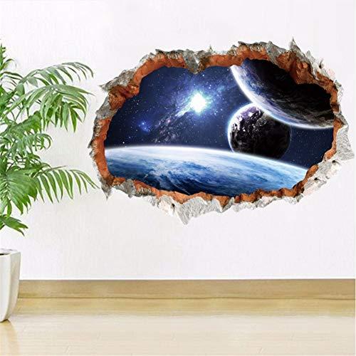 Mddjj 3D Stereo Universum Planet Out Raum Wandaufkleber Gebrochene Wand View Universe Wallpaper Poster Kunst Wand Grafik Poster Home 50X70Cm Wohnzimmer Dekoration Kinderzimmer