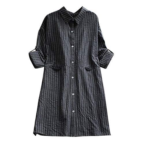 Asalinao Frauen Stehkragen Leinen Taschengitter Lässige Lose Tunika Tops T Shirt Bluse (Size Dorothy Plus Kostüm)