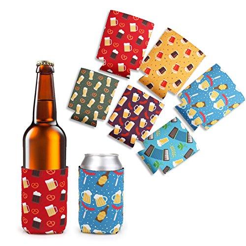 Camo Amerikanische Flagge (LAGUTE Faltbarer Bier Kühler, Neopren Bierhalter 6 Stück Bierkühler/ Getränkekühler, Hält Länger Kalt bzw Warm für Bier Flaschen and Bierdose, Ideal für Weihnachtsdekoration Party (350 ml, Multicolor))