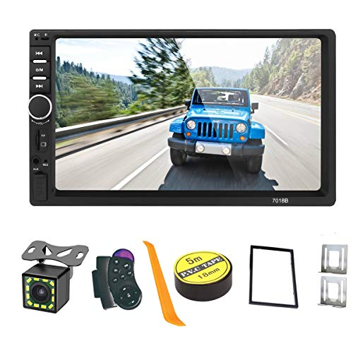 【Summdey】 Android/iOS Mirror Link kapazitiver Touchscreen 17,8 cm (7 Zoll) 2 DIN MP5-Player Auto Multimedia mit AUX/USB/SD/TF-Karte FM + 12 LED Rückfahrkamera + Lenkradfernbedienung