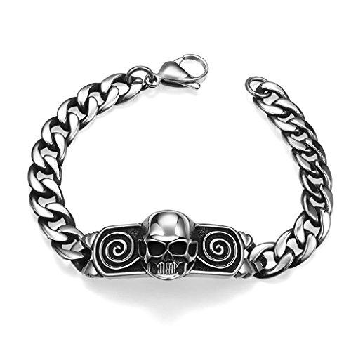 Aeici Edelstahl Charm Armband Gitter Armbänder für Männer Silber für Valentinstag Abmessungen: 20x5.1x1.9CM