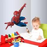 S - Grand autocollant mural amovible Spider Man pour décoration d'intérieur et chambre d'enfant - Autocollants de salon, chambre à coucher, décoration murale pour la maison ou la cuisine.