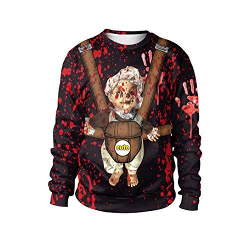 VEMOW Herbst Frühling Damen Scary Halloween Blutverband 3D Print Party Casual Cosplay Top Caps Sweatshirt Pulli(Weinrot, EU-46/CN-XL)