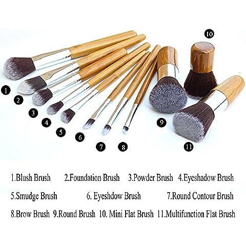 ANG?11pcs Professional Bamboo Handle Cosmetic Makeup Brush