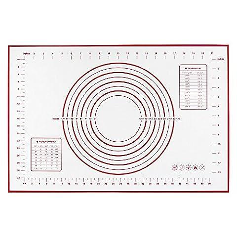 Roll Silikon Backmatte, SHUOWEI Rot Große Silikon Gebäck Matte mit Messungen / Fondant Rolling Mat / Gebäck Rolling Work Mat | 40 x 60cm, 8 Kreise Teig Werkzeug, Macaron Werkzeug, Keks / Plätzchen Werkzeug