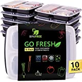 Meal Prep Containers [10-Pack] 3-Compartment, Portion Control Containers, Bento Lunch Boxes, Plastic Food Containers, Lunchbox for Kinds, Meal Prep Tasche, Bento Box with Lids
