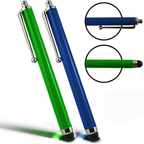 Par de verde y azul color lápiz capacitivo pantalla táctil bolígrafos para el Alcatel OneTouch 2001por Digi Pig