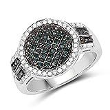 Ring Sterling-Silber 925 0,44 Karat echter blauer Diamant und weißer Diamant