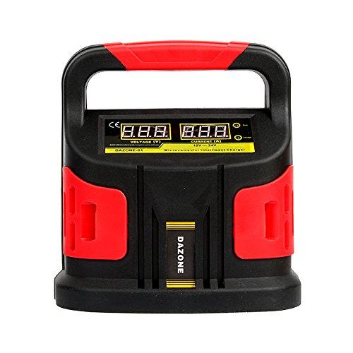 Dazone Batterieladegerät 12/24V, Automatik Ladegerät KFZ für Auto und Motorrad von 20-200Ah (Optimale Ladung, Ladefortschrittsanzeige) - EU Stecker