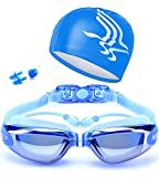 ZHIYIJIA Verspiegelt Schwimmbrille UV-Schutz Antibeschlag Bequeme für Erwachsene