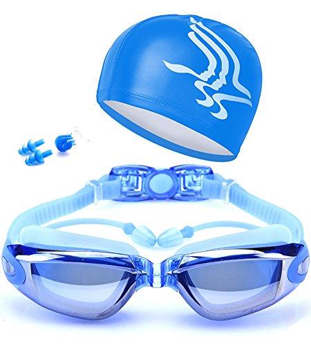 ZHIYIJIA Verspiegelt Schwimmbrille UV-Schutz Antibeschlag Bequeme für Erwachsene,Männer Frauen,...