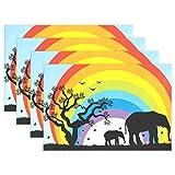 BENNIGIRY afrikanischem Tier Elefant Sonnenuntergang Tisch-Sets Tisch Matte 30,5x 45,7cm Polyester Tischset für Küche Esszimmer 1, Polyester, mehrfarbig, Einheitsgröße