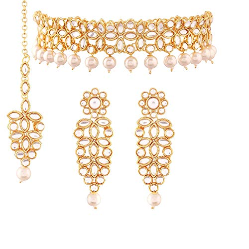 Aheli Indische Kundan Perlen-Choker Halskette Ohrringe Maang Tikka Set Ethnische Bollywood Schmuck für Frauen