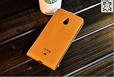 URCOVER® Akira Genuine Leather | Housse de Protection Nokia Lumia 1320 | Cuir Véritable in Flip marron | Étui Coque Mince Fermeture Magnétique Support Á